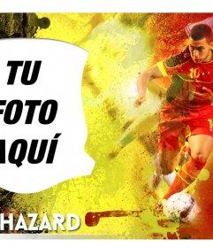 Montaje con Eden Hazard, joven futbolista de la selección Belga