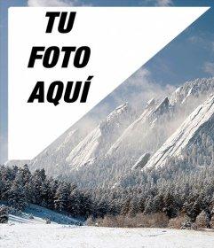 Postal con un paisaje de Denver nevado con tu foto