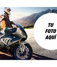Montaje de fotos con una moto de alta gama marca BMW