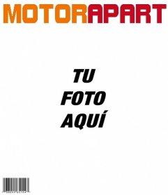 Plantilla de portada de la revista Motor Apart, personalizable con tu foto