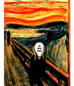 Fotomontaje de el famoso cuadro de Munch Scream en el que puedes poner una imagen