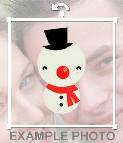 Pegatina online de un muñeco de nieve para decorar tus fotos de navidad