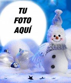Marco de Navidad con un muñeco de nieve para tus fotos