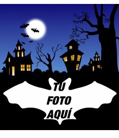 Fotomontaje de Halloween con murciélagos