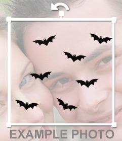 Murciélagos volando para pegar en tus fotos y decorarlas con este sticker