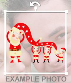 Pegatina con unos elfos disfrazados de Papá Noel