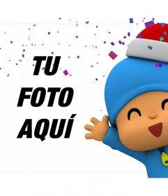 Efecto de Navidad con Pocoyo para editar con una de tus fotos gratis