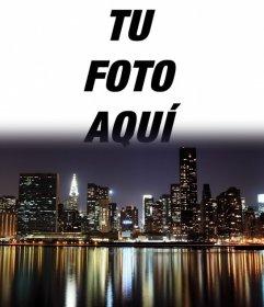 Postal montaje del landscape de Nueva York en la que puedes poner tu foto de fondo