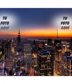 En este collage Tu foto aparece dos veces, fundida en el cielo de Nueva York. Espectacular imagen de un atardecer con las luces de los rascacielos encendidas