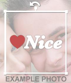 Sticker de Nice con un corazón para pegar en tus fotos gratis