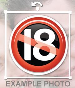 Sticker de la señal de no permitido a menores de 18 años para insertar en tus fotos