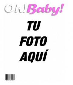 Plantilla para hacer una portada de la revista OH BABY, tu bebé será el protagonista