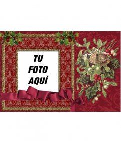 Clásica tarjeta online de navidad de color rojo para poner tu foto