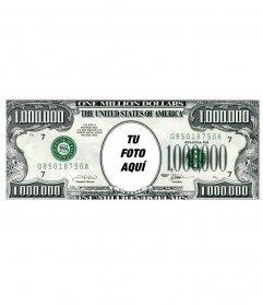 Fotomontaje en el que añadir una cara a un billete de un millón de Dólares