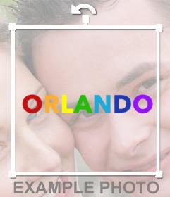 Sticker online para pegar en tus fotos ORLANDO con los colores de arcoiris