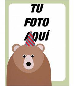 Marco para fotos de cumpleaños con un oso