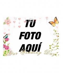 Crea tu tarjeta de boda con esta decoración para foto con el texto: our wedding day