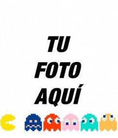 Pon a Pacman persiguiendo a los fantasmas de colores con este fotomontaje online