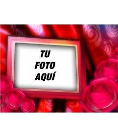 Postal de San Valentín para hacer con tu foto de fondo , de cuadro con borde de rosas rojas