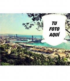 Postal con un paisaje de Barcelona