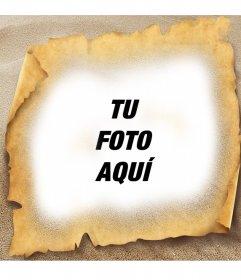 Marco para fotos de papiro en la playa. Dale a tus fotos un estilo de mapa del tesoro con este marco para fotos de papiro en la playa