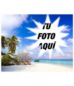 Marco estrellado para incluir una fotografía encuadrada en este paisaje idílico de apariencia caribeña