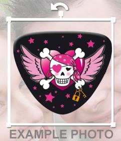 Pegatina rosa de piratas