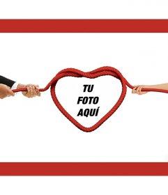 Fotomontaje de amor para poner una foto en un corazón de cuerda
