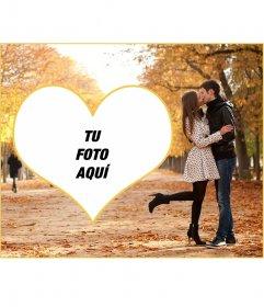 Fotomontaje de amor para poner tu imagen junto a una pareja besándose