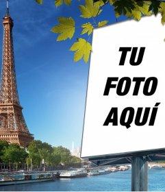Fotomontaje con la ciudad de Paris y la torre Eiffel