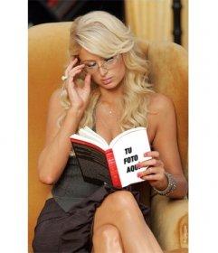 Fotomontaje para poner una foto en el libro que está leyendo Paris Hilton