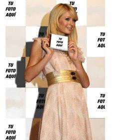 Fotomontaje de Paris Hilton en el que aparecerás de fondo y en la carátula de un CD que muestra