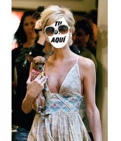 Fotoefecto para poner tu cara en el cuerpo de Paris Hilton con su chihuahua