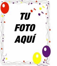 Marco para fotos con adornos de fiesta y globos para hacer una felicitación de cumpleaños