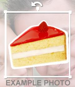 Trocito de pastel que puedes poner en una foto online como una pegatina