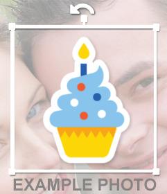 Pegatina de un pastel de cumpleaños para poner en tus fotos