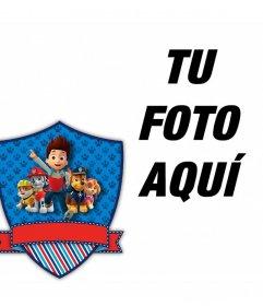 Marco editable con el escudo de la serie animada La Patrulla Canina