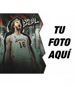 Foto montaje con el jugador de baloncesto Pau Gasol