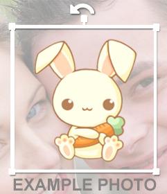 Dibujo para decorar tus fotos de conejito adorable agarrando una zanahoria