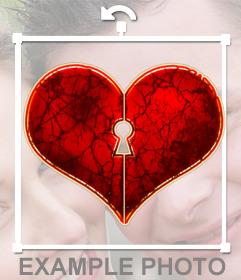 Pegatina de un corazón con forma de cerradura