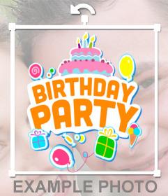 Pegatina para una fiesta de cumpleaños