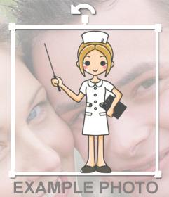 Enfermera de dibujos para colocar sobre tus fotografías