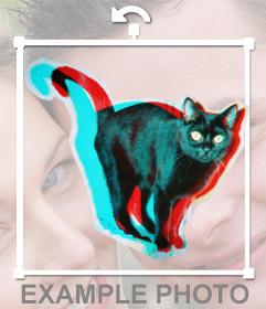 Pegatina de un gato negro en 3D