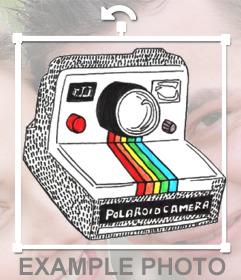 Pegatina con un dibujo de una polaroid