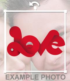 Texto con -Love- enlazado en una banda roja para pegar en tus fotos
