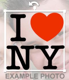 El famoso I LOVE NY con corazón para estampar en tus fotos