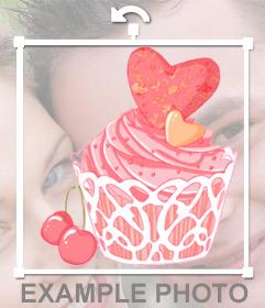 Sticker de un cupcake rosa