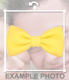 Pegatina de una pajarita de color amarillo chillón