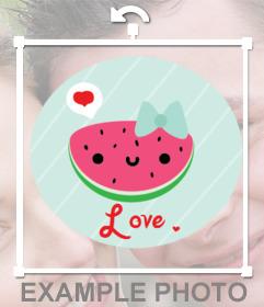 Calcomanía digital para tus fotos de una simpática sandia amorosa