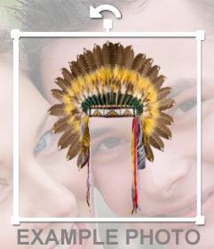 Pegatina con un sombrero típico de indio americano
